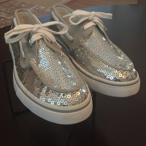 Arizona Sequin Boat Shoes Silver sz 8.5